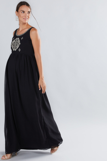 House of Napius Maternity Embroidered Maxi Dress
