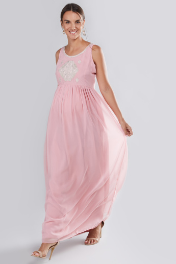 House of Napius Maternity Embellished Maxi Dress with Boat Neck