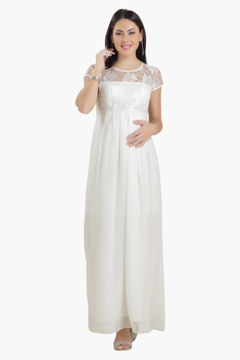 House of Napius Maternity Maxi Dress with Lace Detail