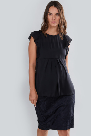 House of Napius Maternity Round Neck Top with Flutter Sleeves