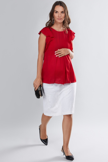 House of Napius Maternity Ruffle Detail Top with Round Neck