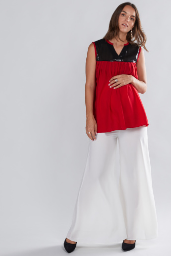 House of Napius Maternity Sleeveless Top with Sequin Detail