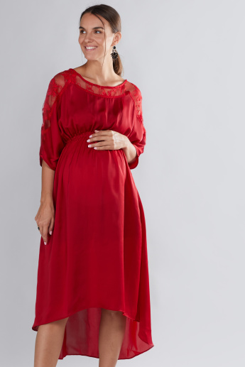 House of Napius Maternity Lace Detail Dress with 3/4 Sleeves