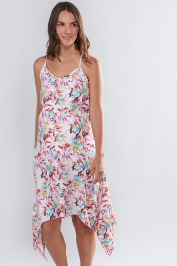 House of Napius Maternity Printed Midi Dress with Spaghetti Straps