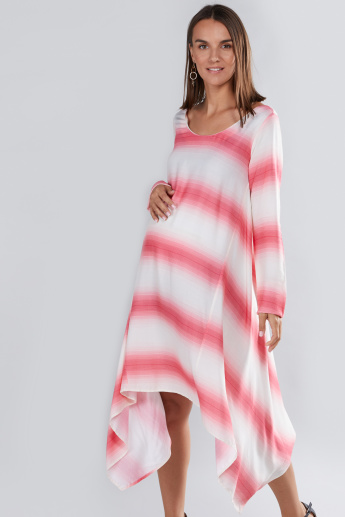 House of Napius Maternity Striped Dress with Asymmetric Hem