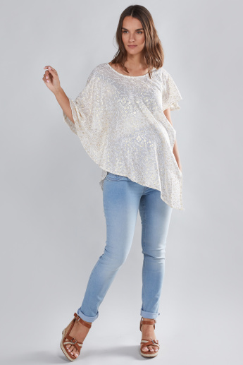 House of Napius Maternity Boat Neck Poncho with Sequin Detail