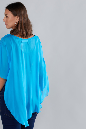 House of Napius Maternity Boat Neck Poncho with Short Sleeves
