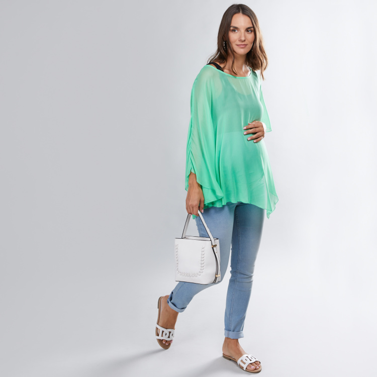 House of Napius Maternity Poncho with Boat Neck
