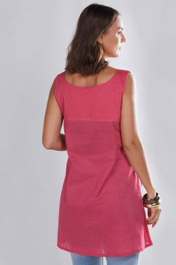 House of Napius Maternity Sleeveless Tunic with Button Detail
