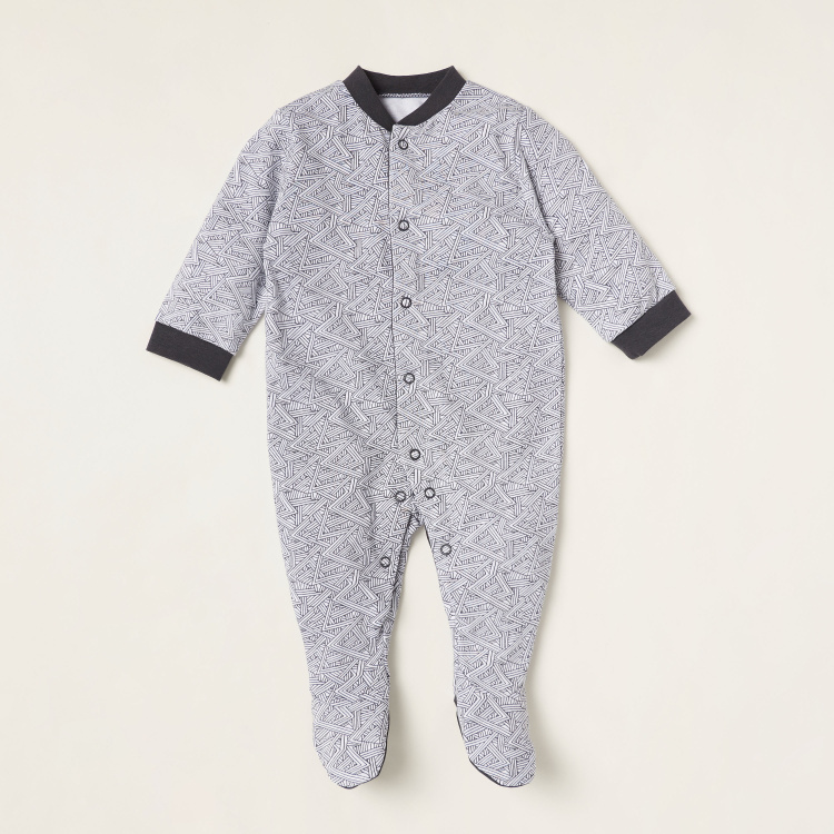 Juniors Printed Closed Feet Sleepsuit with Long Sleeves - Set of 3