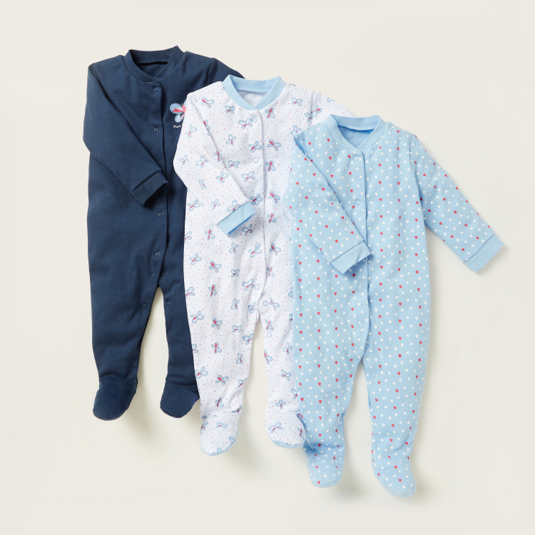 Juniors Graphic Print Closed Feet Sleepsuit - Set of 3