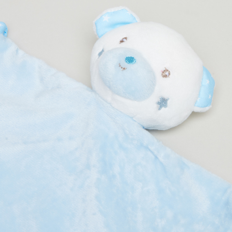 Juniors Plush Bear Blankie Rattle Toy
