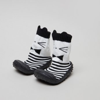 Juniors Striped and Embroidered Baby Shoes
