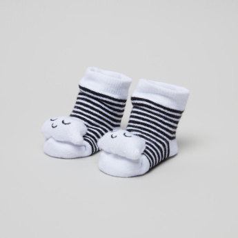 Juniors Striped 3D Ankle Length Socks