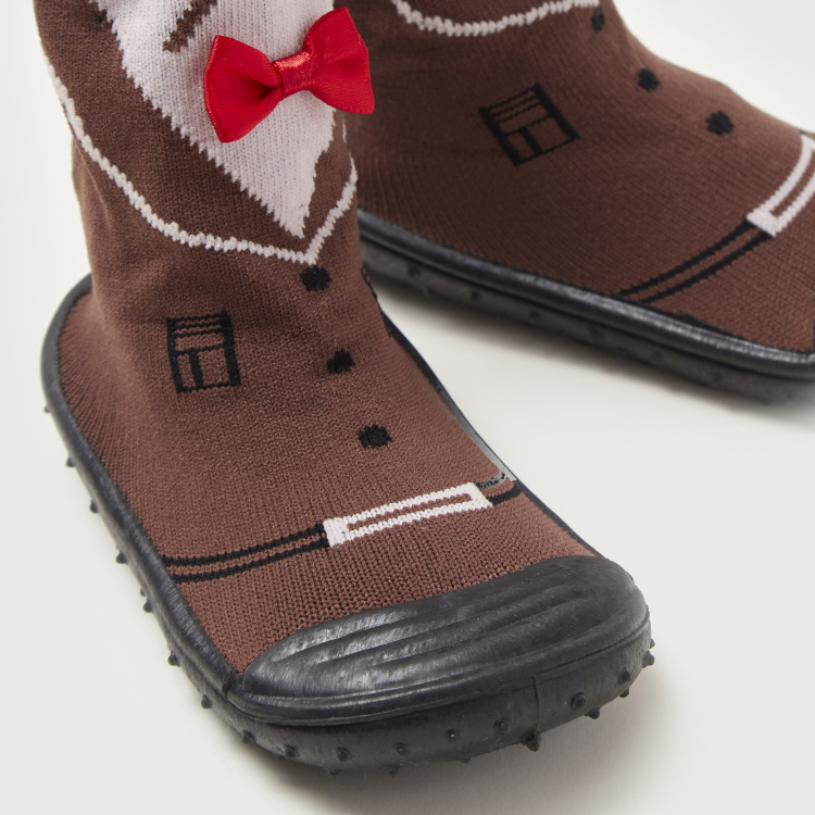Juniors Textured Booties with Bow Applique Detail and Cuffed Hem