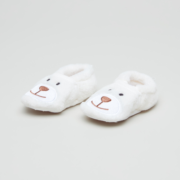 Juniors Plush Booties with Embroidery
