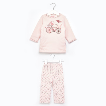 Juniors Embroidered T-Shirt and Printed Pyjama Set