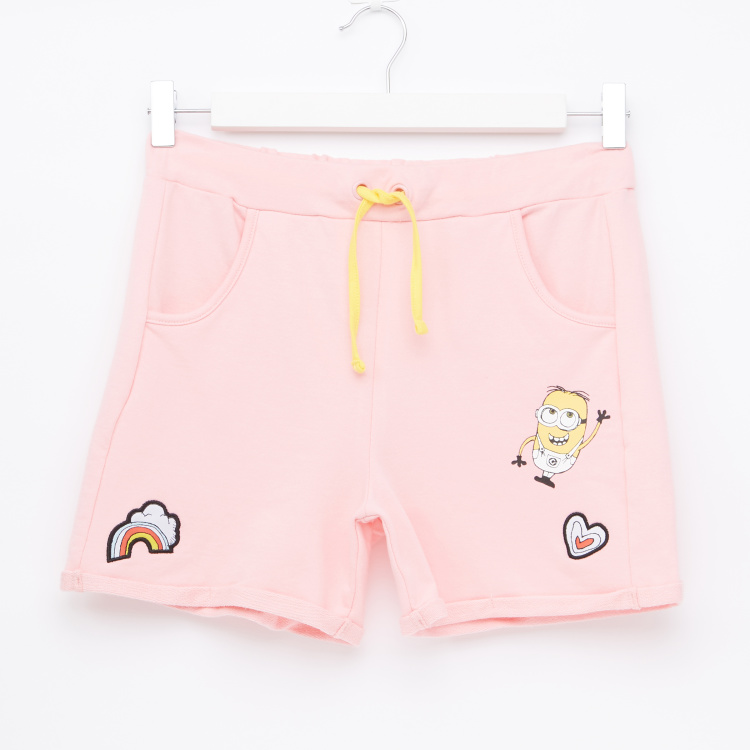 Minions Printed Shorts with Elasticised Waistband and Drawstring