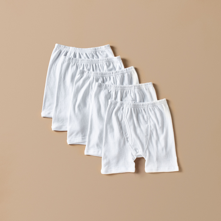 Juniors Solid Boxers with Elasticised Waistband - Set of 5