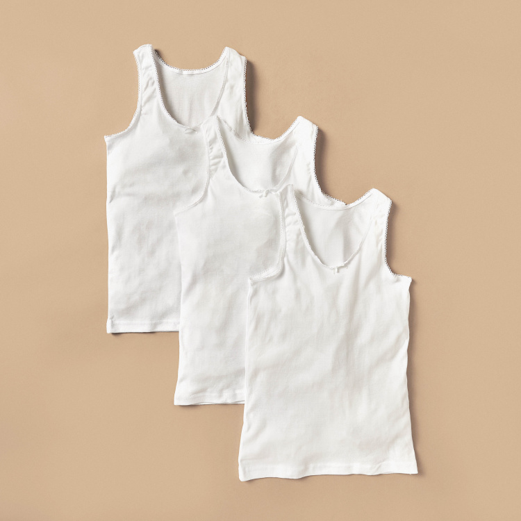 Juniors Solid Vest with Lace Detail - Set of 3