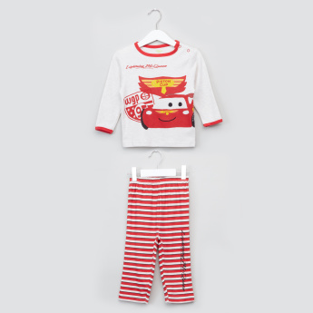 Cars Printed Long Sleeves T-Shirt and Pyjama Set