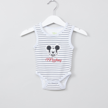 Mickey Mouse Striped and Embroidered Sleeveless Bodysuit