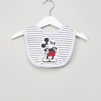 Mickey Mouse Embroidered Bib with Stripes