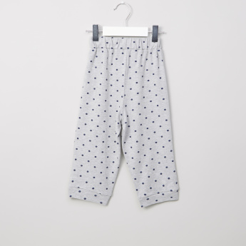 Juniors Polka Dot Printed Shirt with Jog Pants