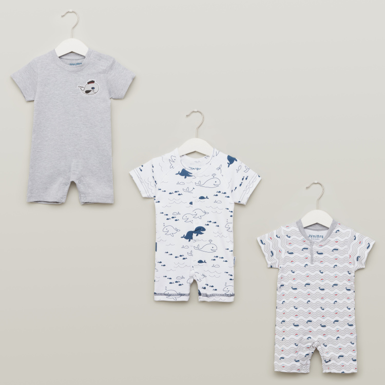 Juniors Round Neck Rompers with Short Sleeves - Set of 3