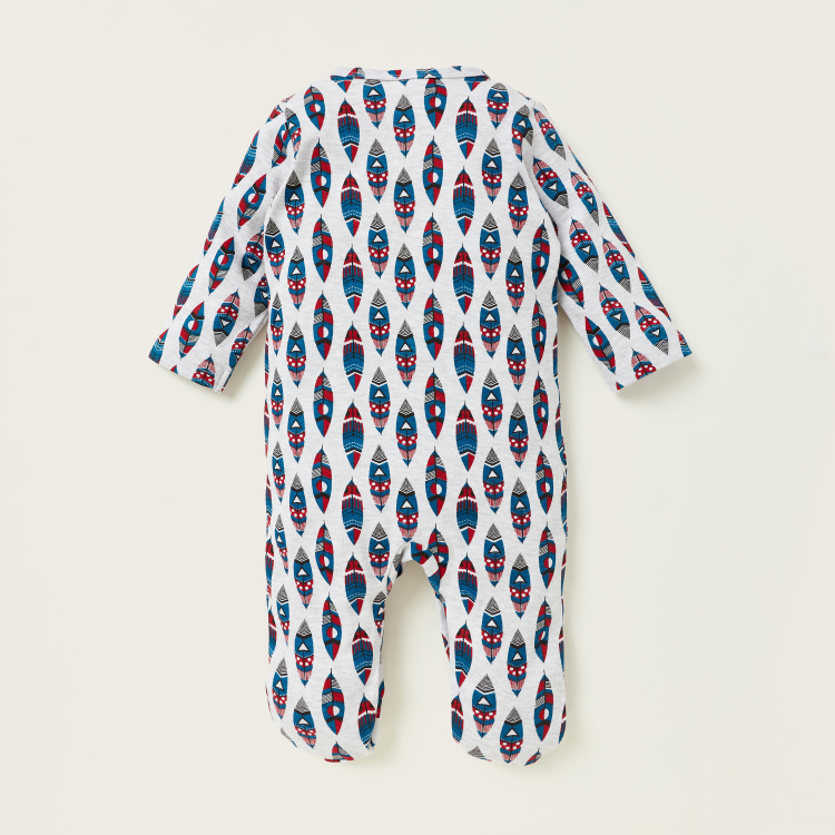 Juniors Printed Closed Feet Sleepsuit with Long Sleeves