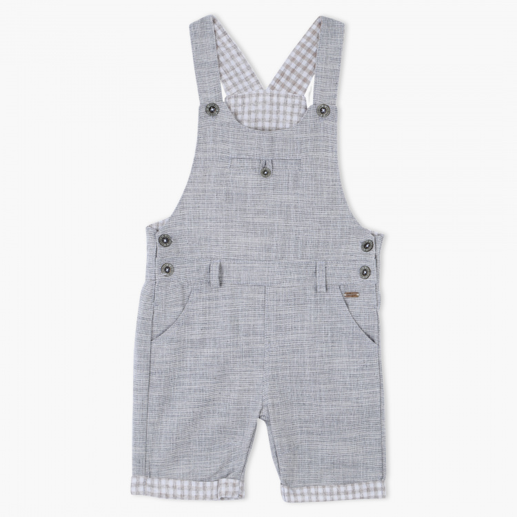 Eligo Textured Dungarees with Button Closure