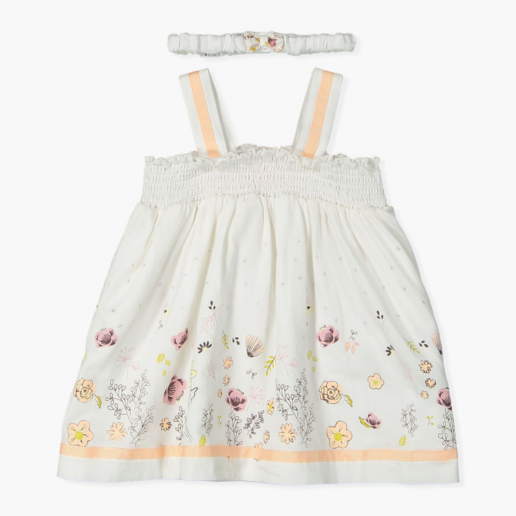 Juniors Printed Dress with Headband