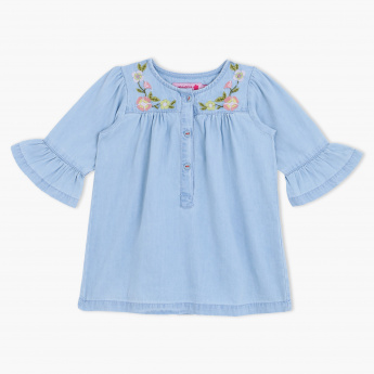 Juniors Embroidered Detail Top
