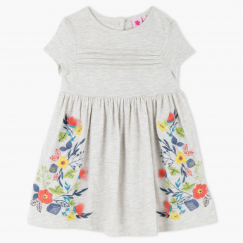 Embroidered Round Neck Short Sleeves Dress