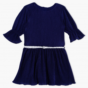Juniors Textured Round Neck Dress