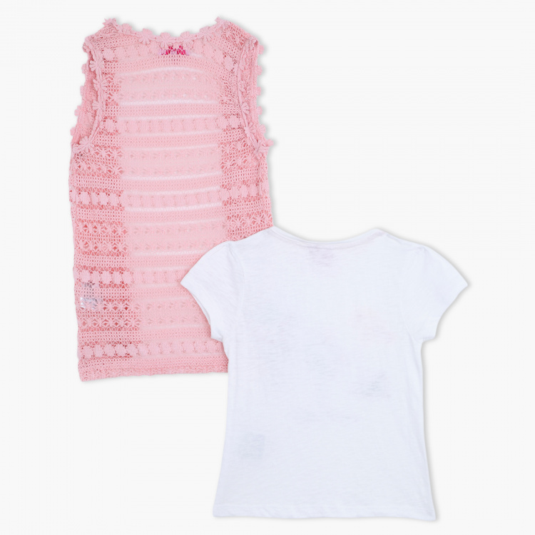 Juniors Printed T-Shirt and Lace Shrug Set