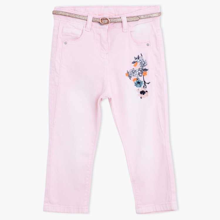 Juniors Printed Full Length Pants with Button Closure