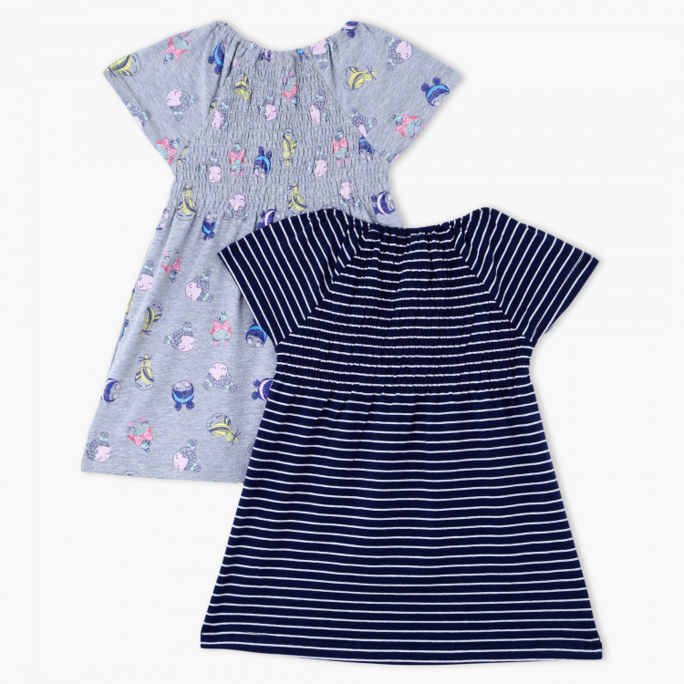 Juniors Printed Round Neck Dress - Set of 2
