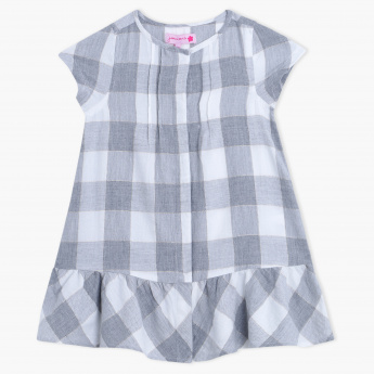 Juniors Checkered Short Sleeves Top