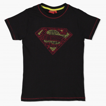 Superman Embroidered  Round Neck T-Shirt