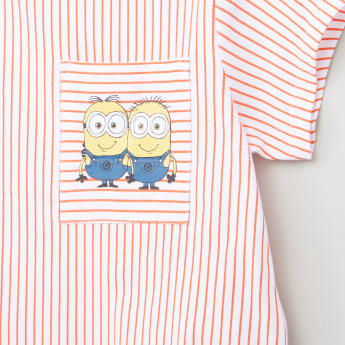 Minions Printed Round Neck Short Sleeves T-Shirt