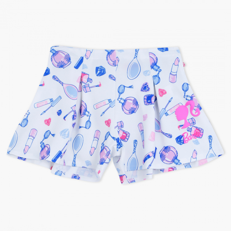 Barbie Printed Shorts with Zip Closure
