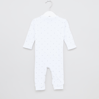Juniors Printed Sleepsuit with Round Neck and Long Sleeves
