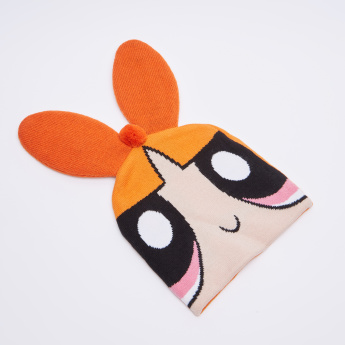 The Powerpuff Girls Printed Winter Cap with Pom-Pom Detail