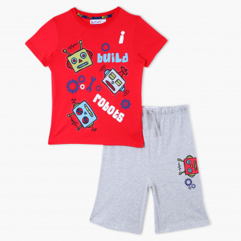 Juniors Printed T-Shirt and Shorts - Set of 2