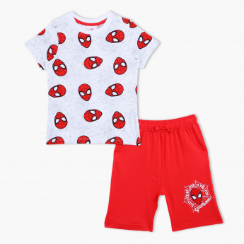 Spider-Man Print T-Shirt and Bermuda Shorts - Set of 2