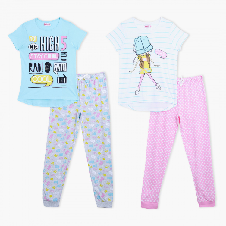 Juniors Printed T-Shirt and Pyjama Pants - Set of 2