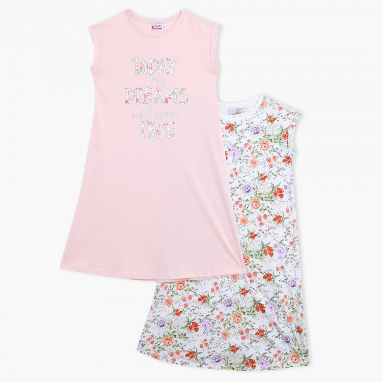 Juniors Printed Night Dress - Set of 2