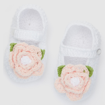 Giggles Textured Booties with Press Button Closure
