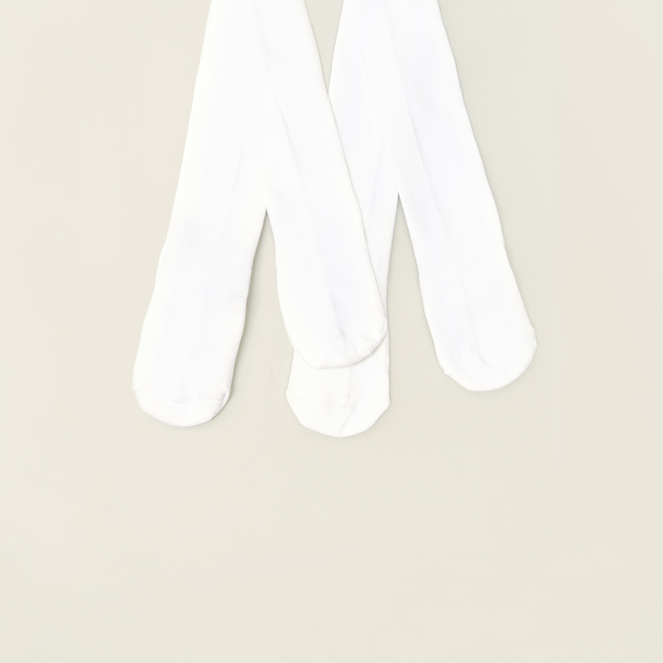 Juniors Solid Closed Feet Tights - Set of 2